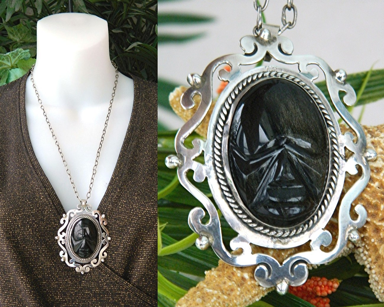 Primary image for Vintage Mexico Sterling Silver Face Pendant Obsidian Torres