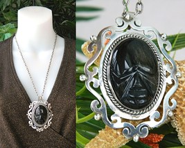 Vintage Mexico Sterling Silver Face Pendant Obsidian Torres - £67.88 GBP
