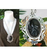 Vintage Mexico Sterling Silver Face Pendant Obsidian Torres - $84.95