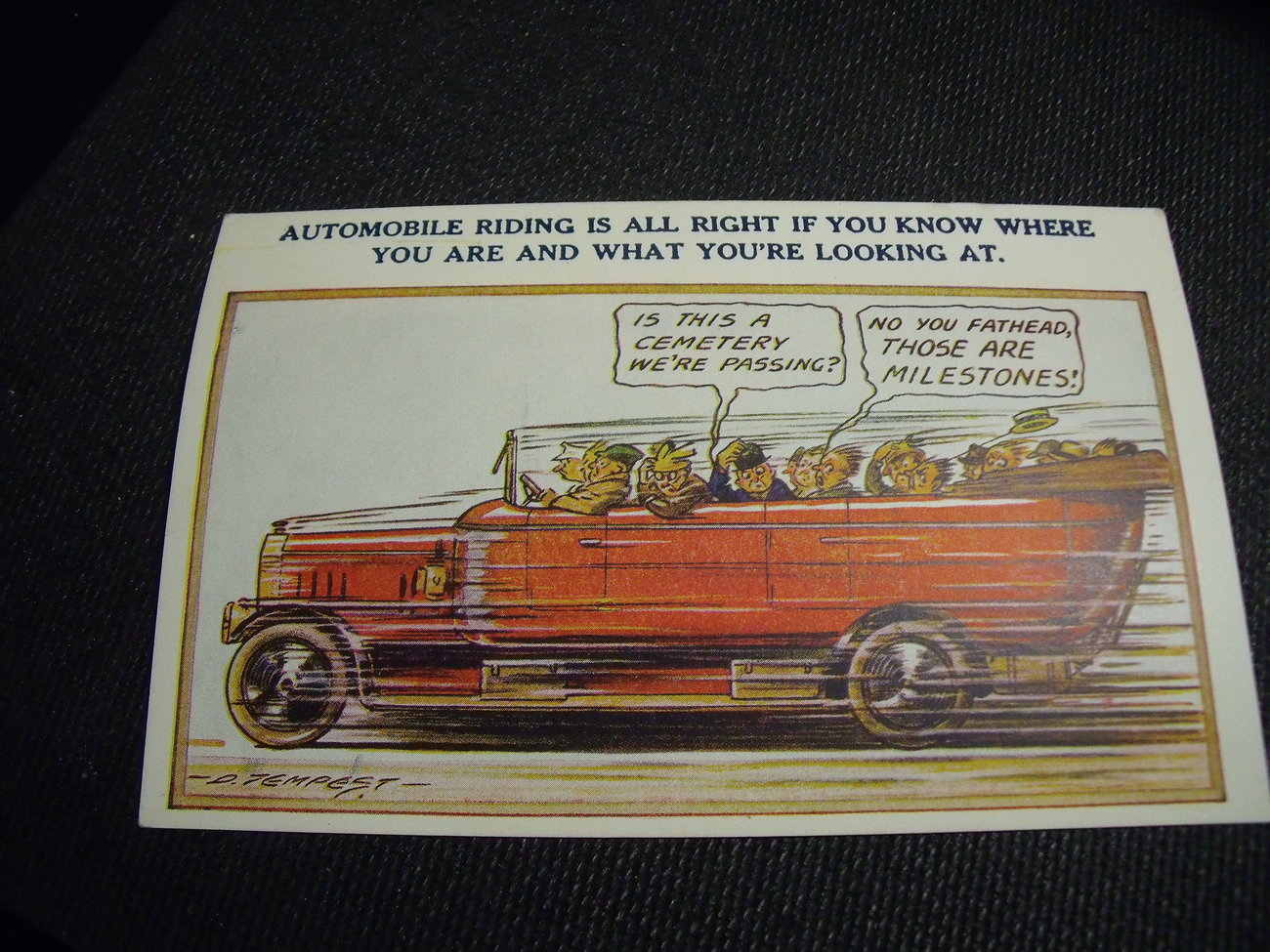 Touring Comic Postcard with speeding convertible