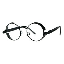 Side Cover Clear Lens Glasses Steampunk Fashion Small Round Frame - $9.85