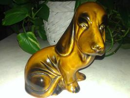 "Vintage Ceramic Chocolate Brown 6"" HOUND DOG Figurine Marked #415 Made i... - $5.93"