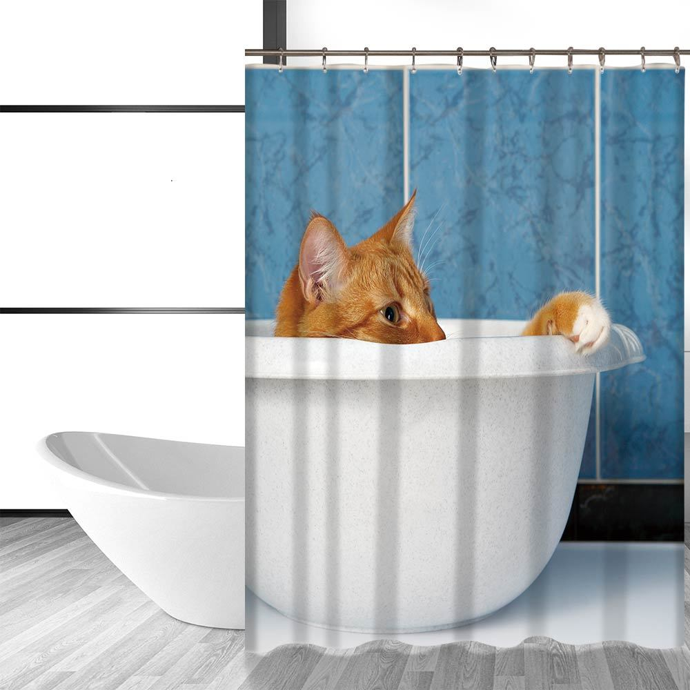 Miracille Cute Dog and Cat Printing Bathroom Decorative Shower Curtain Waterproo image 4