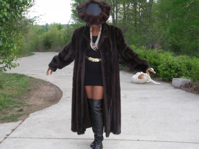 Charles Klein Full length Mink Fur Coat XL +Brim hat