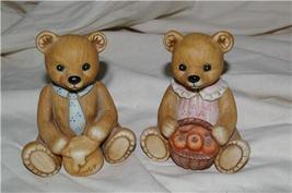 Homco Harvest Bear Pair Figurine 1405 Home Interiors - $7.99