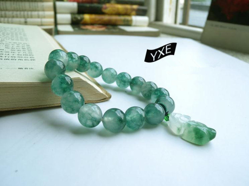 Free Shipping - 12MM Natural Green Jadeite Jade charm beaded jade beads Bracelet