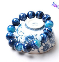 Free Shipping - good luck Natural  sky blue agate Prayer Beads charm beaded brac - $25.99