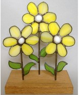 Stained Glass Yellow Flowers Handmade Wood Stand Decor White Green - $16.00