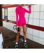 Sexy Turtleneck Long Sleeve Bodycon Jumpsuit For Women Fitness Wear Zipp... - $21.99
