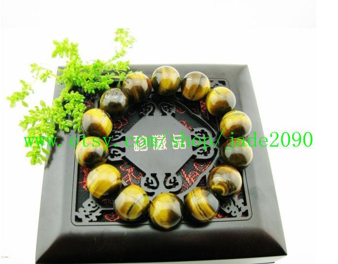Free Shipping -  Natural tiger eyes gemstone beaded bracelet , Prayer Beads char