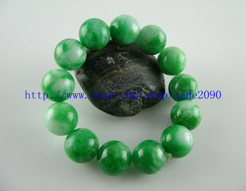 Free Shipping - 15MM Natural Green Jadeite Jade charm beaded jade beads Bracelet