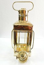 """12"""" Vintage Stable Gold Brass Lantern Oil Lamp Wall Hanging Home Decor - £47.97 GBP"""