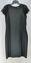 Dress Barn Shift Dress Women's Sz 12 Black Stretch Knee Length Lace Slee... - $19.99
