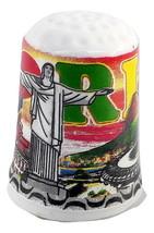 New souvenir thimble ceramics i love Brazil Rio de Janeiro Christ the Re... - $7.69
