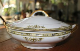 Noritake Adams M Covered Vegetable Bowl with Handles Pristine Gold Black... - $21.77