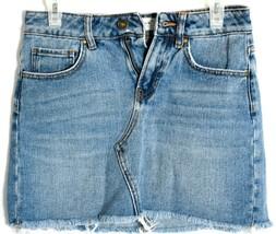 PacSun Light Blue Jean Denim Skirt w Raw Hem Size 24 image 1