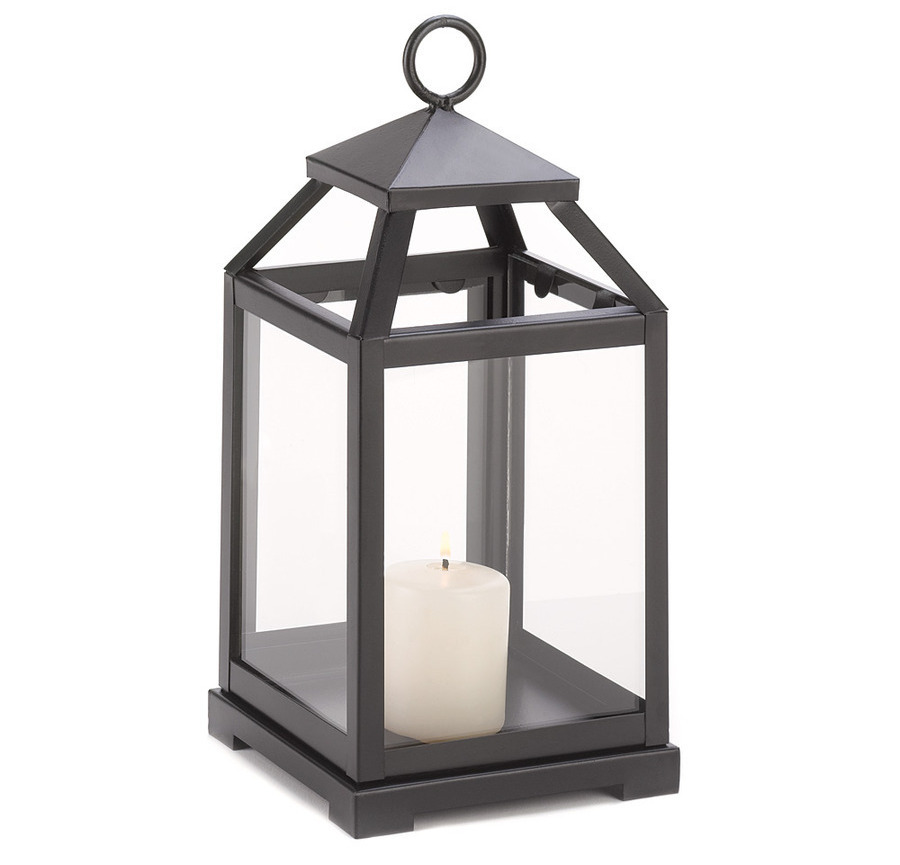 Black Contemporary Candle Lantern
