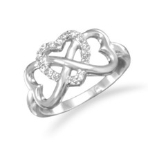 Clear CZ Heart Infinity Design Sterling Silver Ring - $34.99