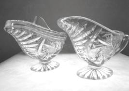 Retro Pinwheel Cut Crystal Cream and Sugar Bowl Set 1960s - $15.00