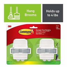 Command, Multi-Use, 2-Pack Broom & Mop Grippers, Holds up to 4 lbs 17007-HW2ES,