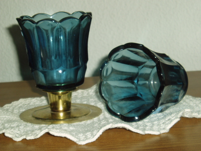 Primary image for Home Interiors Dark Blue Sconce Votive Cups Homco