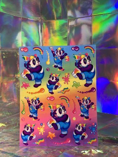 SALE⚡️S271  Lisa Frank Painter Panda Classic Sticker Sheet Full