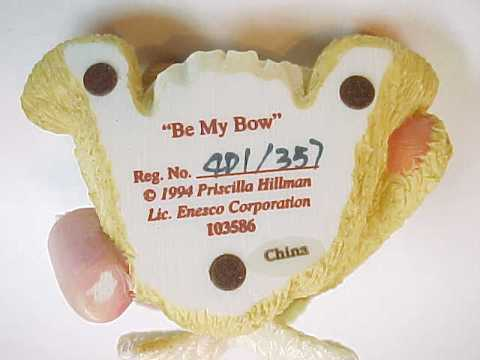 "1994 Cherished Teddies ""Be My Bow"" Cupid Bear Figurine"
