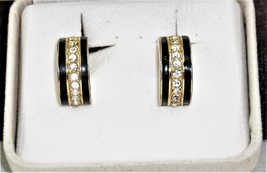 Vintage Signed Trifari Goldtone Black Enamel Rhinestones Clip-On Earrings  - $15.02