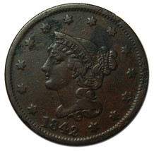 1842 Large Cent Liberty Braided Hair Head Coin Lot # MZ 3813