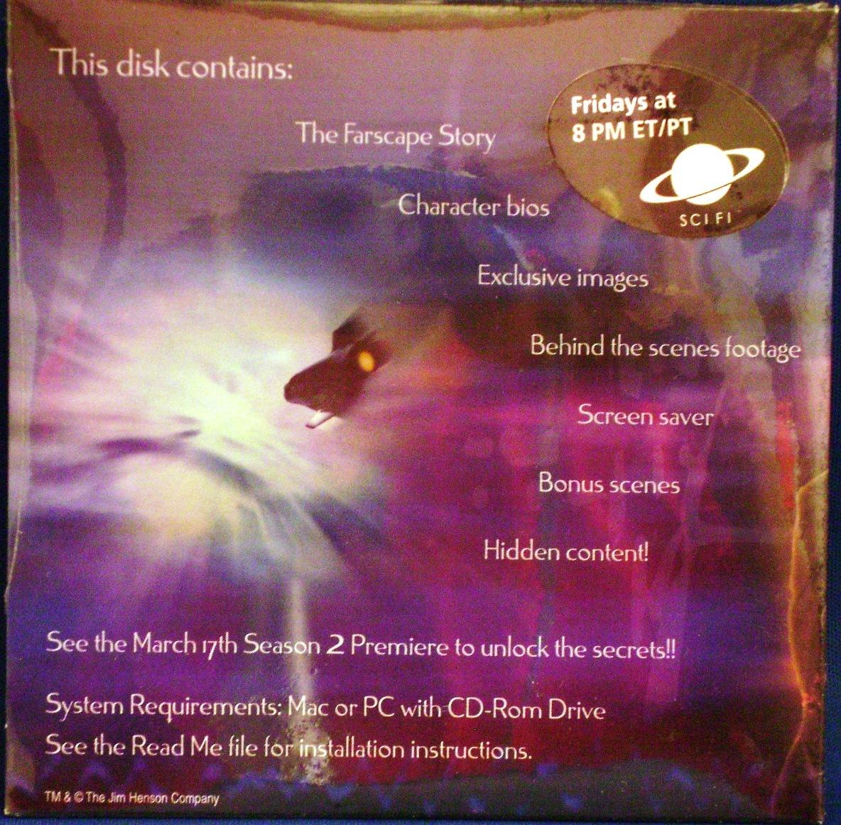 Farscape~CD-Rom Disk~Season 1~Pinback Button~Promos~Bios~Neat Stuff~1999