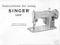 Vintage Singer 185J 185 Sewing Machine Owner Manual L