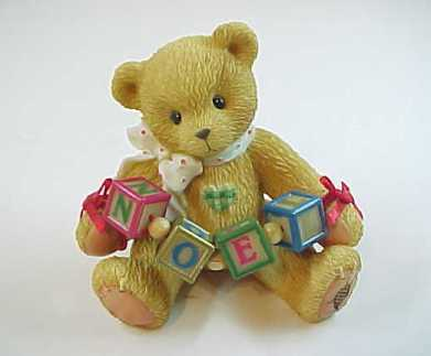 "1996 Cherished Teddies ""NOEL"" Christmas Bear with Blocks Figurine"