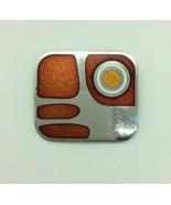 de Passille Sylvestre bBooch Modernist Enamel Orange Silver Tone Pin - $19.79