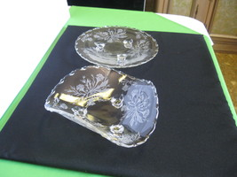 Fostoria Glass Crystal Heather Footed Tricorne Bowl, Footed Tidbit Tray ... - $39.99