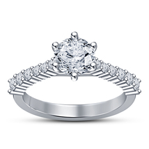 White Gold Plated 925 Silver Round Cut CZ Solitaire W/ Accents Engagemen... - $94.25 CAD