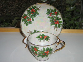 Ucagco China Christmas Cup & Saucer - Holly Leaves, Berries, Multicolored Luster image 2