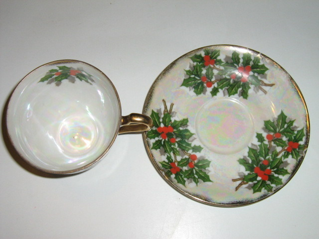 Ucagco China Christmas Cup & Saucer - Holly Leaves, Berries, Multicolored Luster image 3
