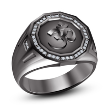"""14k Black Gold Plated 925 Sterling Silver Round Cut White Diamond Mens """"Om"""" Ring - $112.12"""