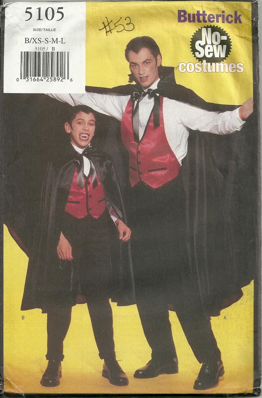 Butterick 5105 No Sew costumes pattern Dracula childrens sz XS-S-M-L