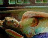 Original ACEO Drawing sleeping nude woman