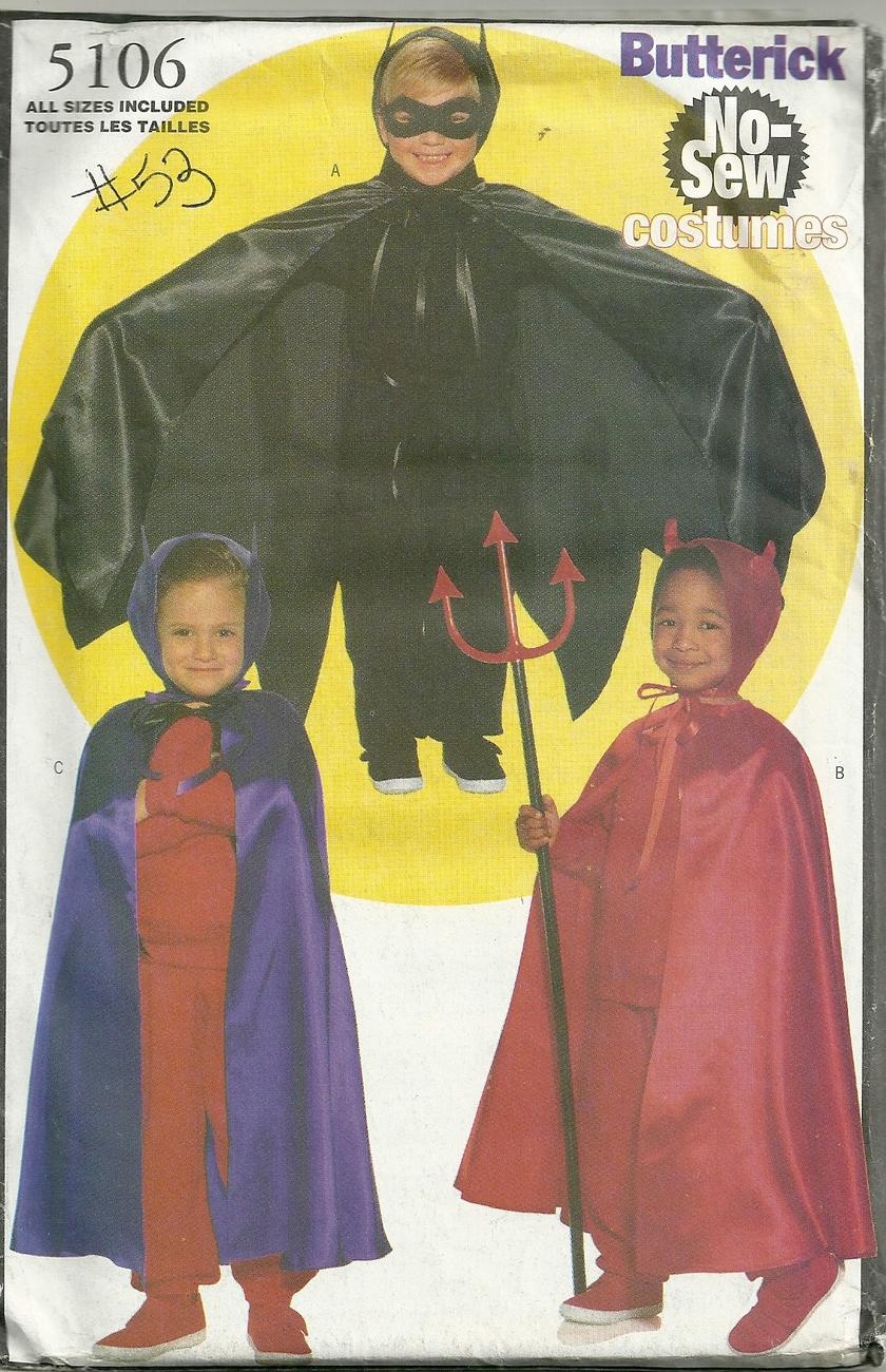 Butterick 5106 No Sew Costumes  childrens sz 2-6X Un-Cut