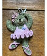 Kurt S. Adler Marked Resin Dancing Brown Bear Ballerina in Pink Tutu Bal... - $5.89