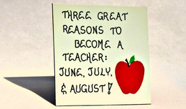 Teacher Magnet, Teaching Quote, Occupation humor, red apple, green leaf design - $3.95