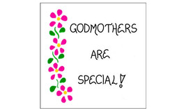 Godmother magnet - Godparent quote, pink flowers, green leaves - $3.95