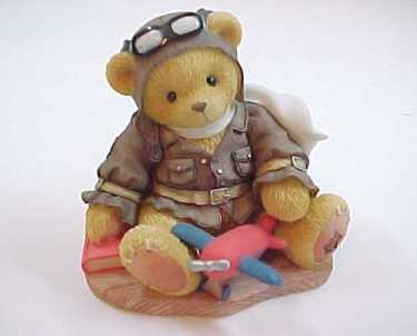 "Cherished Teddies LANCE the Pilot ""Come Fly With Me"" Bear Figurine"
