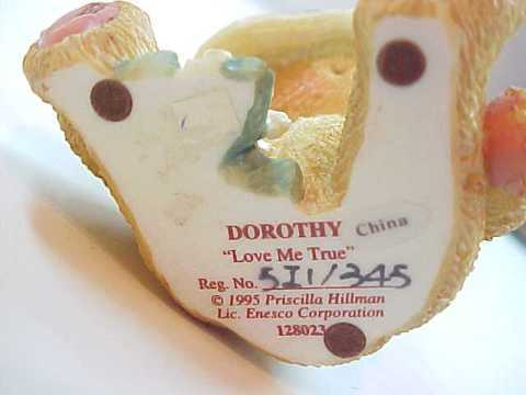 "Enesco Cherished Teddies Dorothy ""Love Me True"" Bear Figurine"