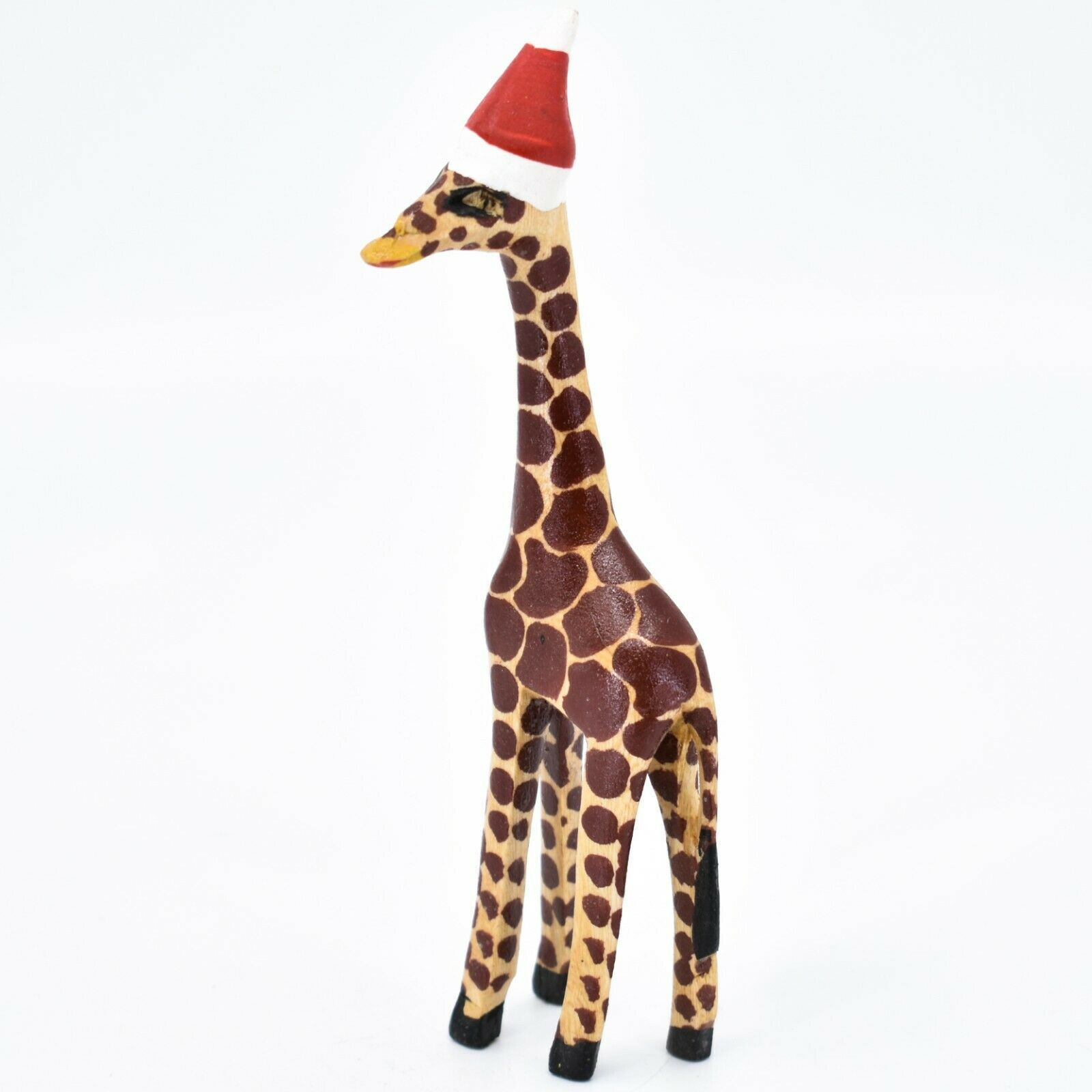 Hand Carved & Painted Jacaranda Wood Santa Hat Giraffe Safari Christmas Figurine