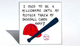 Magnet - Baseball Card Collections, Humorous, Red Hat, Blue Bat, White Ball - $3.95