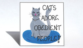Refrigerator Magnet - Cat theme, Feline quote, gray kitty, real rhinestone neckl - $3.95