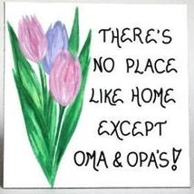 Oma Opa Gift Magnet - Grandparents quote, pastel tulips, green leaves - $3.95